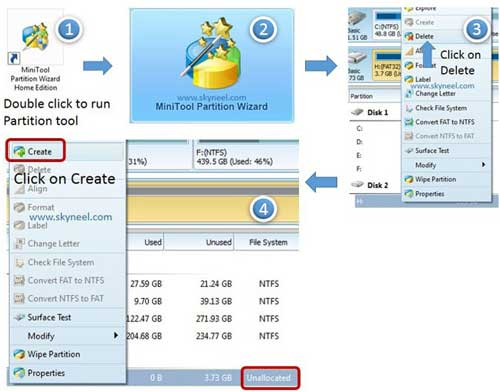 Processor of create partition of your SD card by Partition Tool