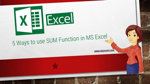 5 Ways to use SUM Function in MS Excel