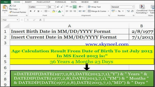 Age-calculation-From-Date-of-Birth-to-1st-July-2013-In-Excel-2013