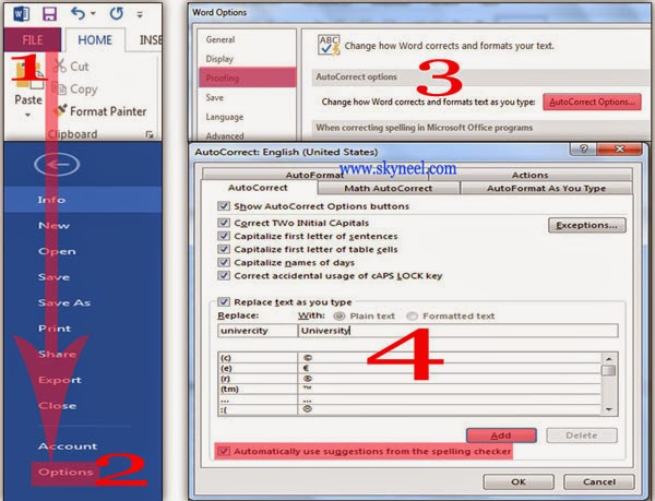 How to enable Auto Correct option in Word