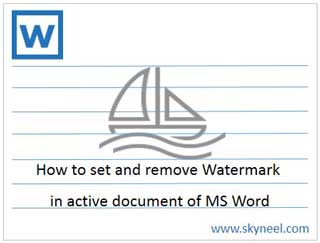 How to set Watermark on single page in MS Word