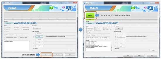 Click on Start button to root Samsung Galaxy Note 3 SM N9005 with Odin tool