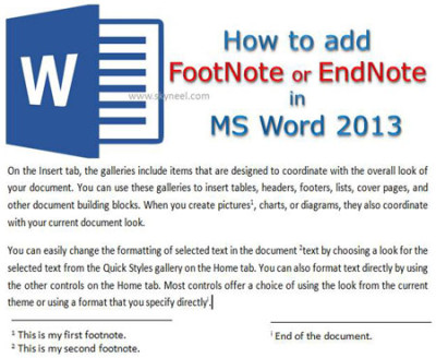 How to add FootNote or EndNote in MS Word 2013