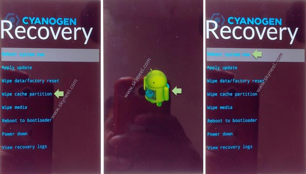 Wipe cache memory and data from recovery mode
