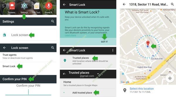 Smart lock to remove password at trusted place on Android