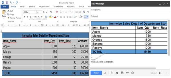 Easy Way How to paste formatted table in Gmail account