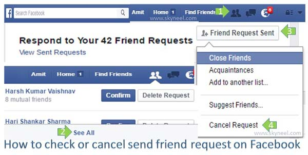 How to check or cancel send friend request on Facebook