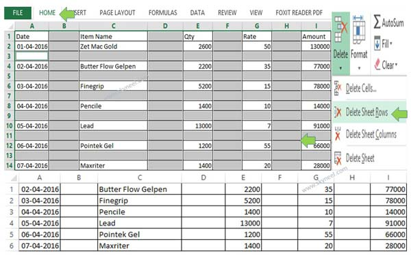 Quickly delete blank rows and columns in MS Excel