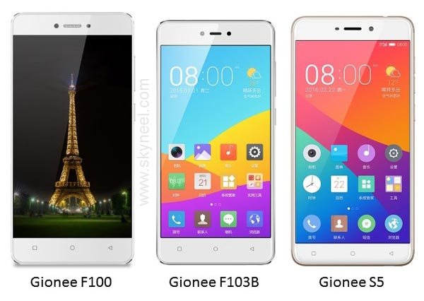 Gionee launched Gionee F100, Gionee F103B and Gionee S5