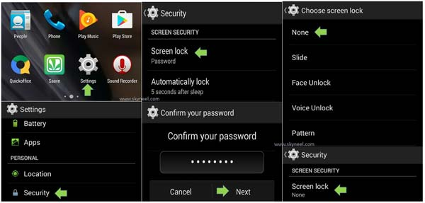 How to Disable the Screen Lock feature in Android phone