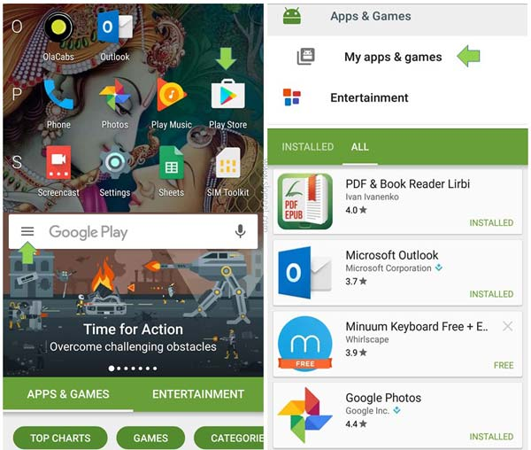 Check and reinstall uninstalled Android apps in Google Play Store