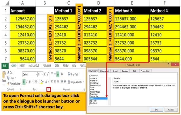 How to convert or change number to text format in Excel