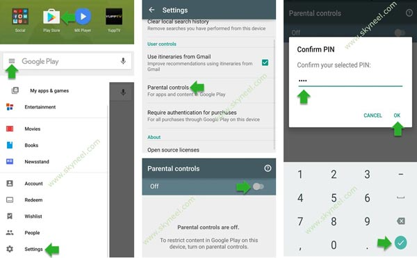 How to set parental lock on Google Play Store