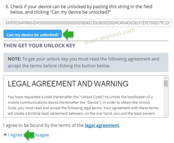 Get Unlock Key from Motorola official site at the email address