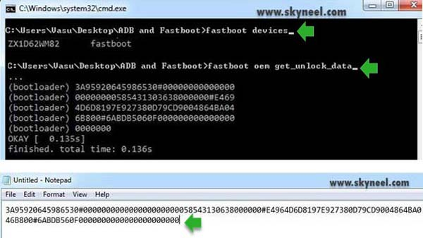 Get unlock data code by fastboot