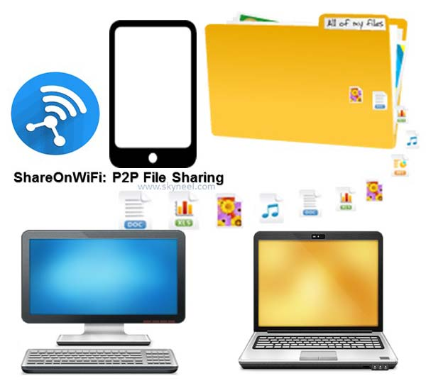 Transfer large files between two Android phone by ShareOnWiFi