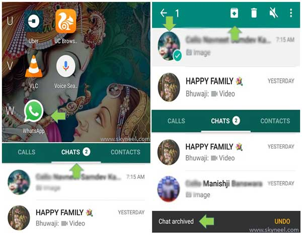 Hide Chat Conversation in WhatsApp Messenger
