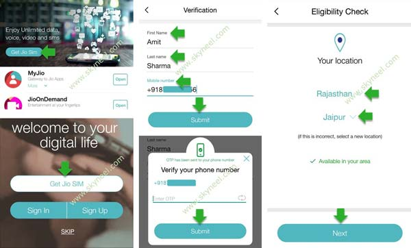 Verification steps for get jio sim