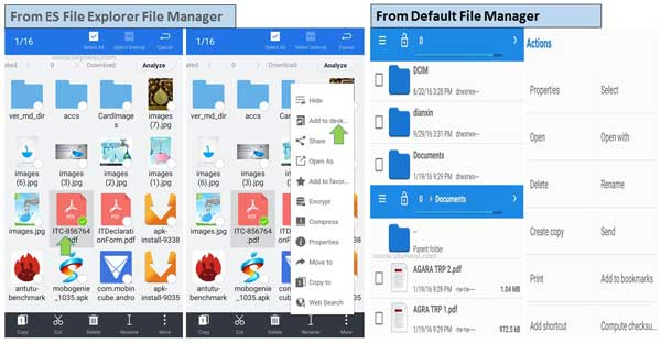 How to create file shortcut in Android phone