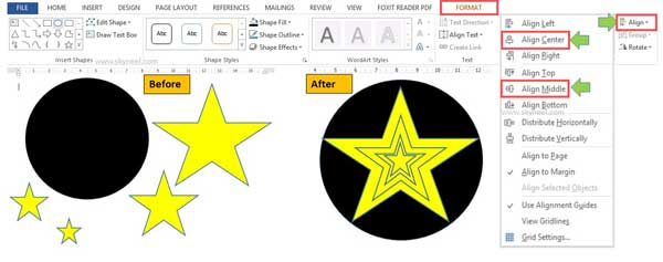 how-to-set-alignment-of-different-shapes-in-word