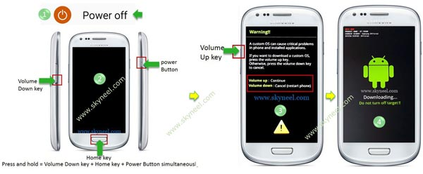Power off Samsung Galaxy A3 SM A310F and enter downloading mode