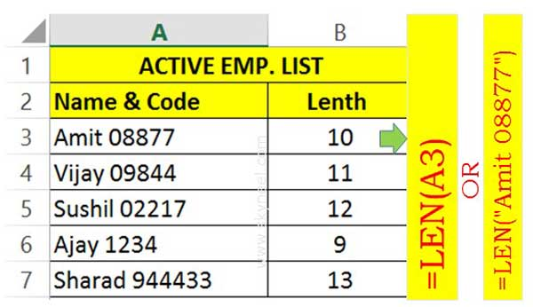 How to use Microsoft Excel LEN function to know length of text string