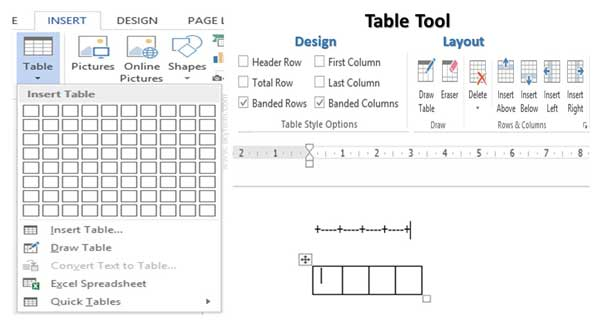 Quick Methods to Insert a Table in Microsoft Word Active Document