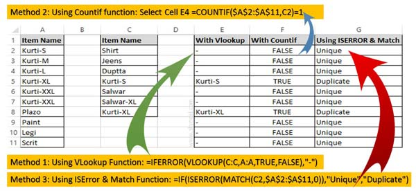 3 Ways to find duplicate values on same worksheet - Excel