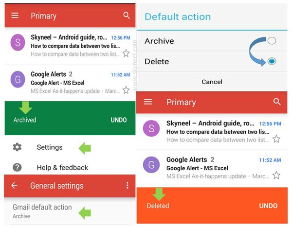 How to change Gmail default action from archive to delete