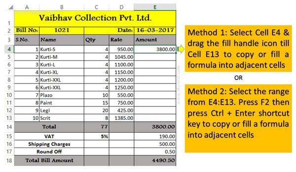 How to copy or fill a formula into adjacent cells in Excel