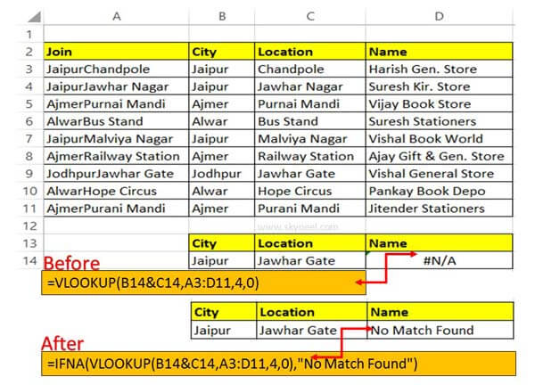 How to search value using VLookup with IFNA function in Excel