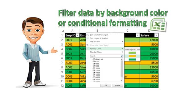 Filter data by background color or conditional formatting