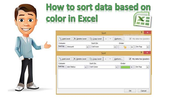 How to sort data based on color in Excel