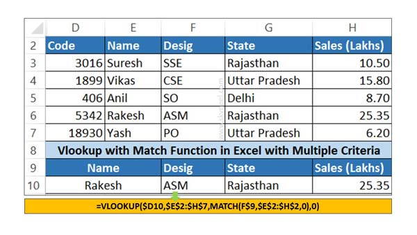VLookup Match function in Excel