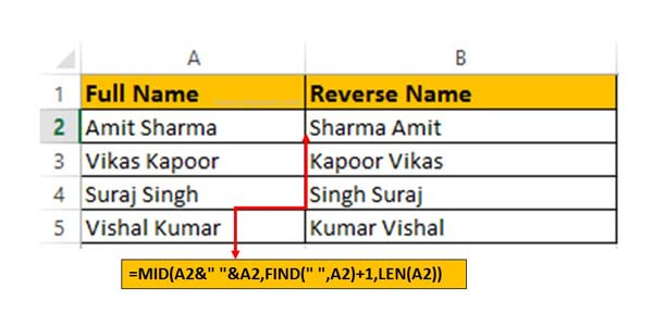 How to switch or flip name in Excel