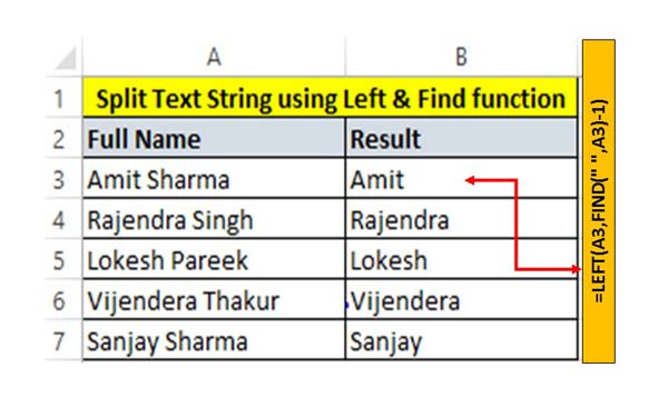 How to use LEFT Function with Find Function