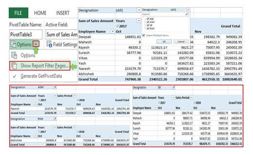 How to Show Report Filter Pages Excel Pivot Table Data