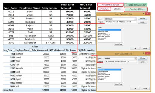 How to create and modify calculated fields in Pivot Table