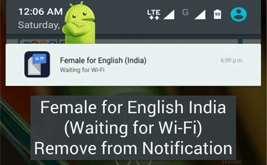 Female for English India (Waiting for WiFi) Remove from Notification