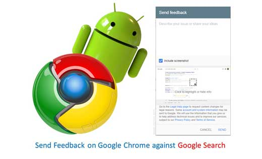 How to Send Feedback on Google Chrome against Google Search