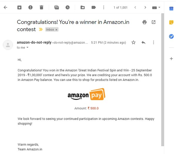 Amazon Quiz Prize proof