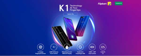 Oppo K1 with In-Screen Fingerprint Sensor