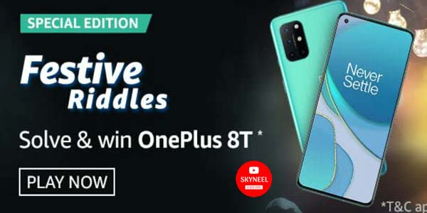 Amazon Festive Riddles Quiz Answer Solve & Win OnePlus 8T