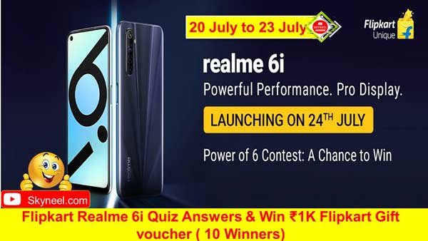 Flipkart Realme 6i Quiz Answers
